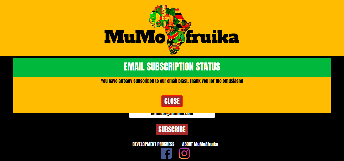 MuMoAfruika Email Subscription Confirmation